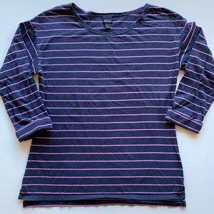 Patagonia navy & pink striped 3/4 sleeve size med